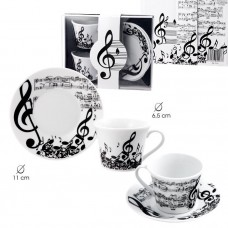 Two-cup coffe set musical symbols